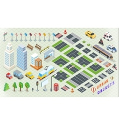 Isometric part city infrastructure vector