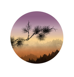 landscape with mountains and pine tree branch at vector image