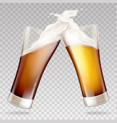 light dark beer in transparent glasses vector image