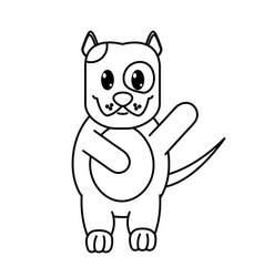 Line adorable and cute dog animal with hand up vector