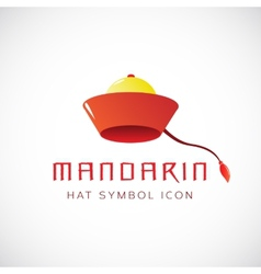 Mandarin Hat Concept Symbol Icon vector