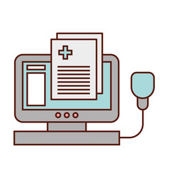 medical computer report prescription isolated vector image