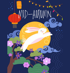 mid-autumn poster design with rabbit leaping vector image