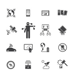 new technology trends icons set flat design vector image