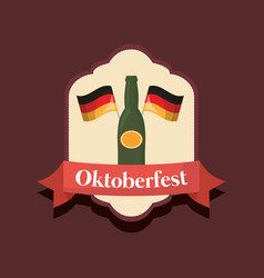 oktoberfest label with beer bottle vector image