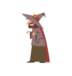 Old witch in shabclothes and pointed hat vector