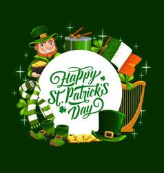 Patricks day irish flag leprechaun and shamrock vector