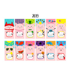 pig vertical monthly calendar 2019 cute funny vector image