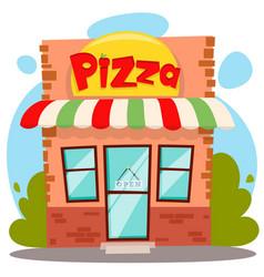 Pizza shop building or pizzeria facade flat vector