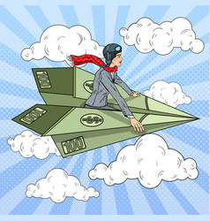 Pop art business woman flying paper plane vector