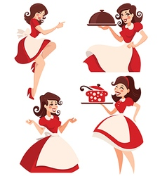 retro cartoon housewife vector image