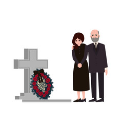 Sad man and woman dressed in mourning clothes vector