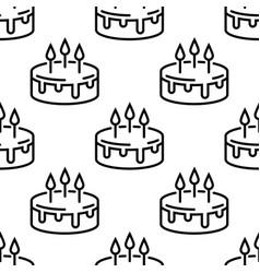 seamless birthday cake pattern line cakes vector image