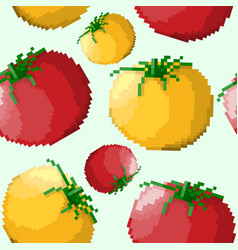seamless pattern of pixel tomatoes vector image