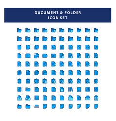 set document and folder icon with filled vector image