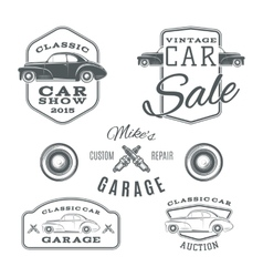 Set of vintage classic car services labels vector