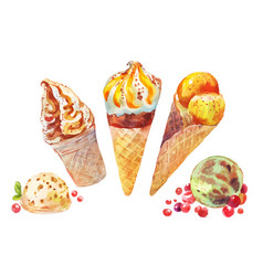 Set of watercolor ice cream vector