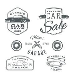 set vintage classic car services labels vector image