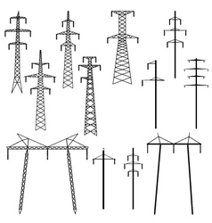 Silhouettes of pylons transmission line vector