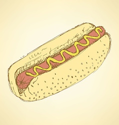 Sketch hot dog in vintage style vector