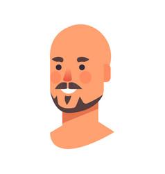 Smiling bald man head avatar beautiful human face vector