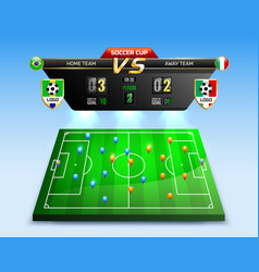 soccer tournament broadcast composition vector image