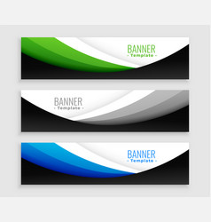 stylish set wavy web banners template vector image