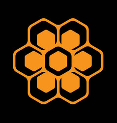 template for emblem with bee honeycombs vector image