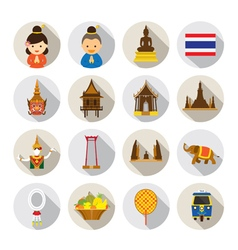 Thailand Flat Icons Set vector