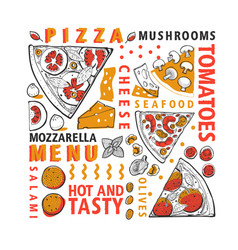 typographic italian pizza and ingredients banner vector image