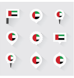 United arab emirates flag and pins for vector