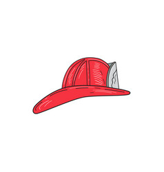 Vintage fireman firefighter helmet drawing vector