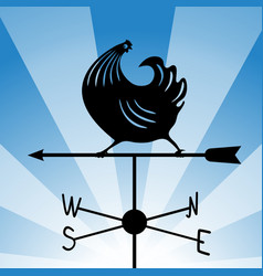 weathervane - running rooster 4 vector image