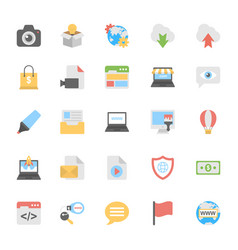 Web design flat colored icons 3 vector