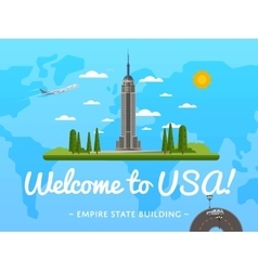 Welcome to usa poster with famous attraction vector