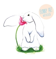 White Rabbit Watercolor Easter art print vector image