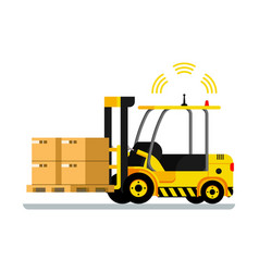 Yellow automatic delivery forklift car full of box vector