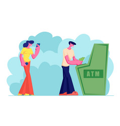 young woman waiting in turn for using atm in bank vector image
