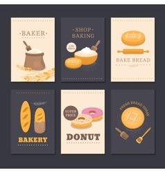 Collection of cards shop bakery vector