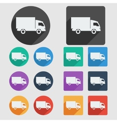 Delivery truck flat icons vector image