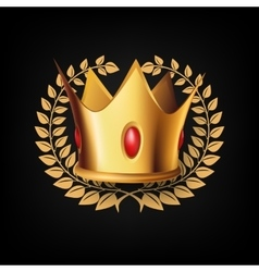 Golden Royal Crown with Laulel Wreath vector image vector image