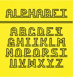 Latin alphabet black letters with shadow vector