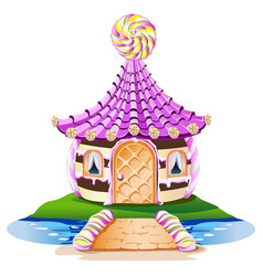 sweet little house with a lollipop vector image