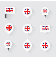 united kingdom flag and pins for infographic and vector image