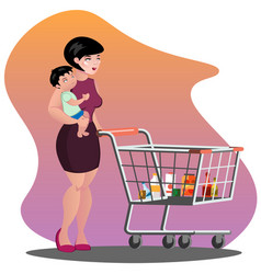 young mother with son baby toddler in a sling vector image vector image