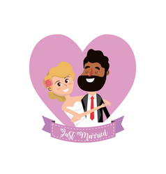 married couple inside of heart and ribbon design vector image vector image