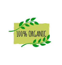 Organic food logo hand drawn vegan badge bio vector
