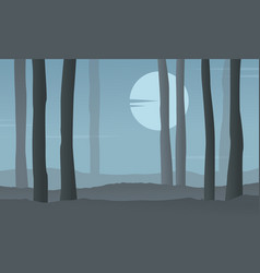 silhouette of forest at night with moon vector image