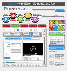 creative white web design elements set vector image