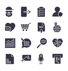 different icons simple icons for apps vector image vector image